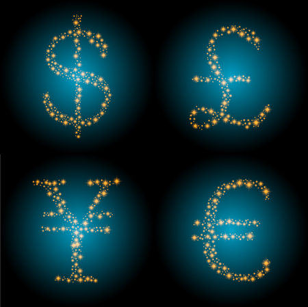 Vector picture of currencies signs painted with stars Illustration