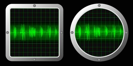 vector picture of two screens with sound signals Stock Vector - 23469603