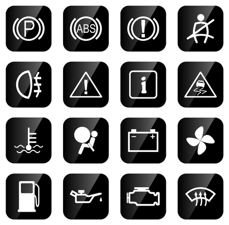 sensors: Set of icons for car dash, vector illustration