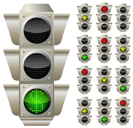 buld: picture of traffic lights with currencies signs, vector eps10 illustration