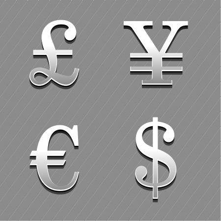 chrom: set of currencies signs on for forex theme, vector illustration Illustration