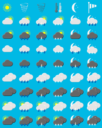 set of weather icons on blue background, vector illustration Vector