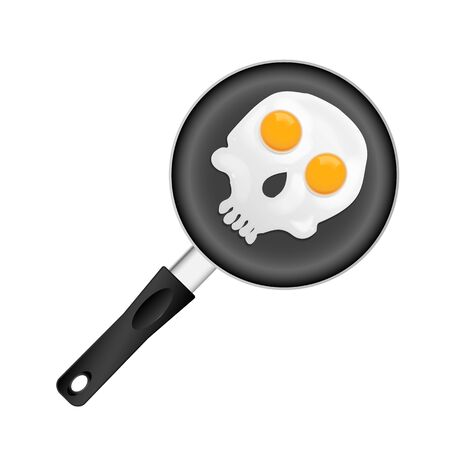 picture of fried eggs in form of skull on pan, vector eps 10 illustration Vector