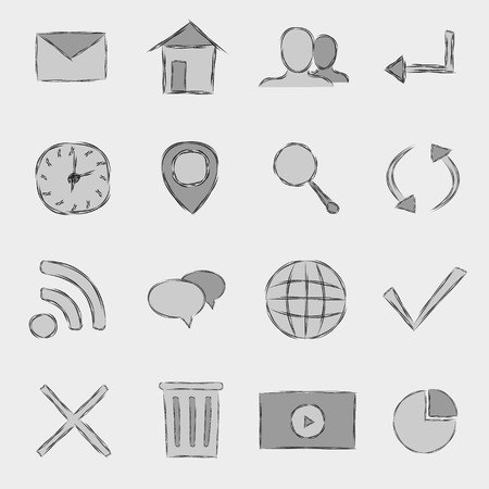 set of web icons created in sketch style, vector eps8 illustration Vector