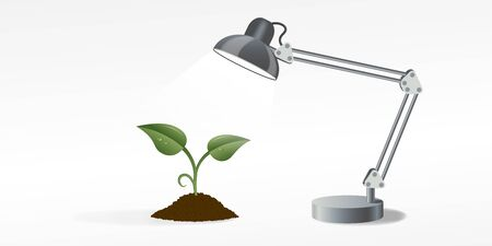 table lamp: picture of the table lamp that lighting the green sprout, vector eps10 illustration