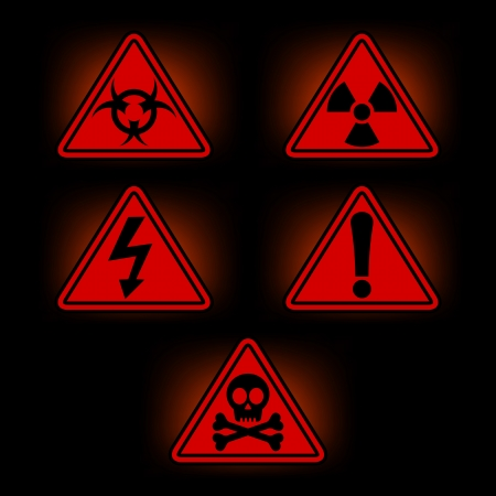set of icons with warning signs, vector eps8 illustration Vector