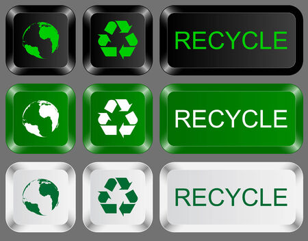 computer keys: set of keys icons with recycling and earth signs