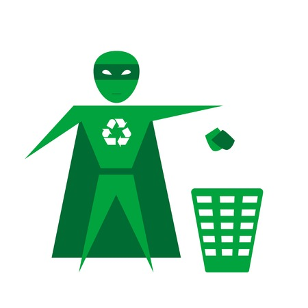 hero throwing trash into the container Stock Vector - 24387259