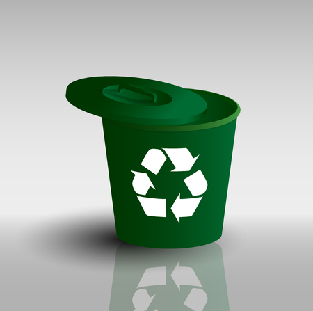 wastebasket: picture of green container with recycling sign on it Illustration