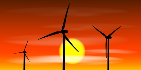 windmills silhouettes on the sunset background Vector