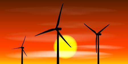 windpower: windmills silhouettes on the sunset background Illustration
