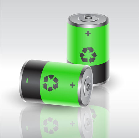 two batteries charged with renewable energy Vector