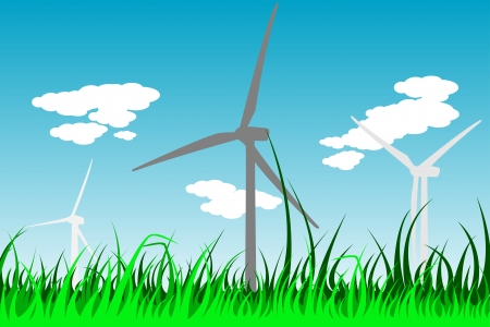 windpower: windmills silhouettes with grass and clouds