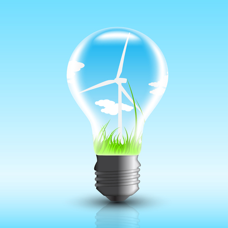 windpower: picture of electric bulb with windmill inside Illustration