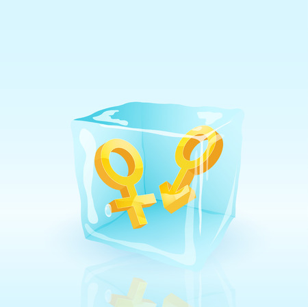 mars and venus signs insode the ice cube, vector eps10 illustration Vector