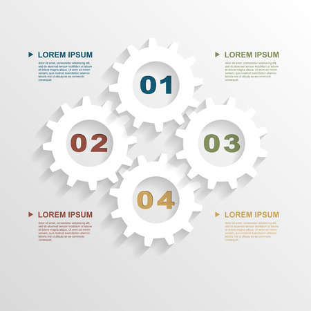 infographic template with paper gears, template for business presentation Vector