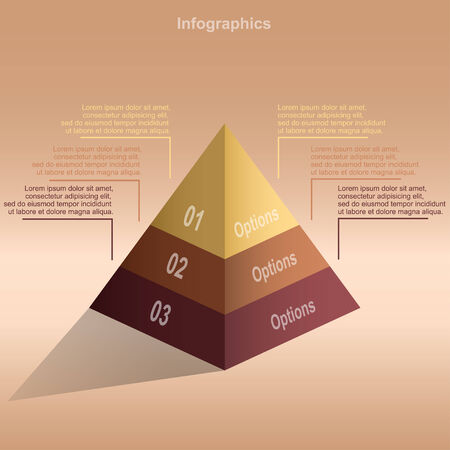pyramid infographic template for business presentation illustration Vector