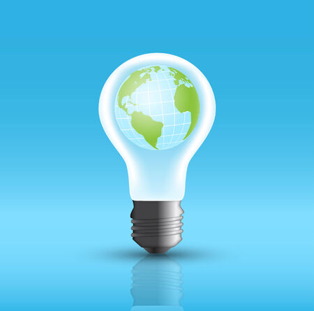 picture of bulb with earth inside Vector