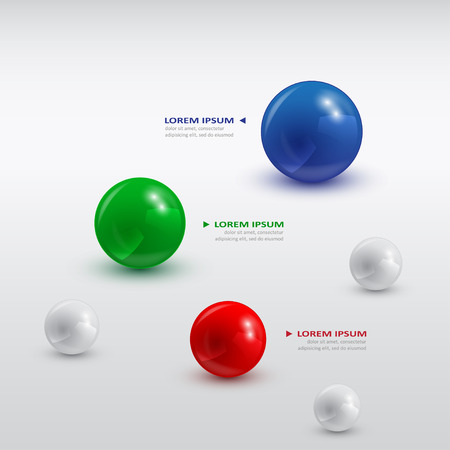 infographic template with color balls of different sizes