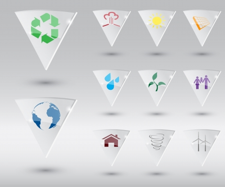 set ow ecological shield icons Illustration