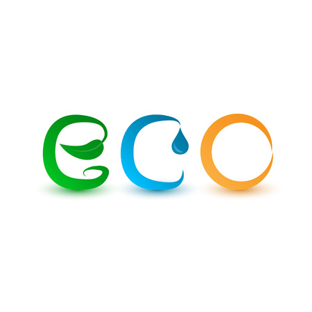 ecological icon concept, water, plant and sun