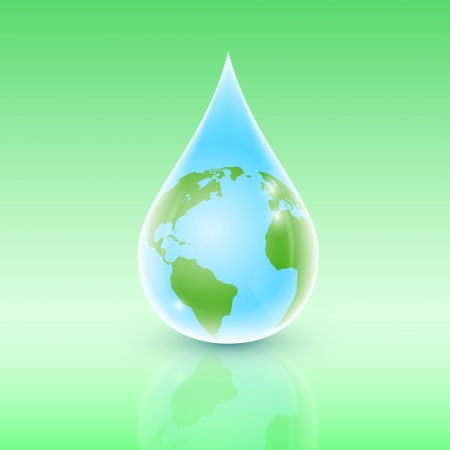 picture of the water drop with earth planet inside  Vector