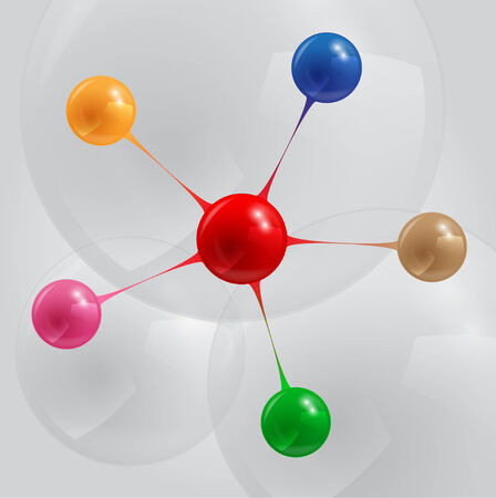 info graphic template with connected color balls  Vector