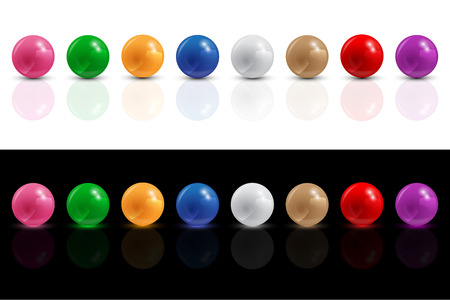 set of color balls on white and black background, could be used for custom infographic design