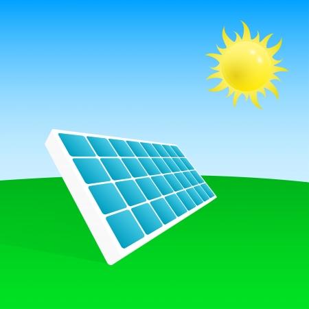 solar equipment: foto de la planta de energ�a solar y el sol, vector eps 10 ilustraciones