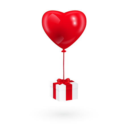 picture of heart shaped red balloon and a gift box Illustration