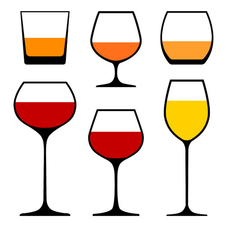 glass of wine: set of wine glasses icons