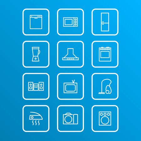 set of household appliances icons, vector eps 10 illustration
