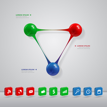 infographic template with connected color balls, vector eps 10 illustration