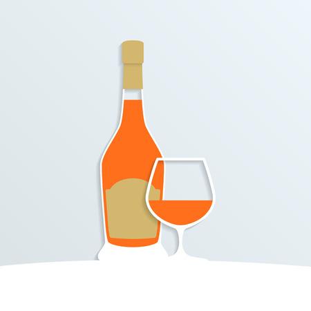 brandy: paper brandy bottle and a brandy glass, vector eps10 illustration