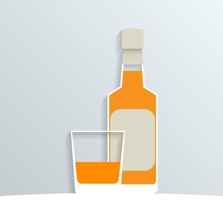 bourbon whisky: paper whiskey bottle and a whiskey glass, vector eps10 illustration