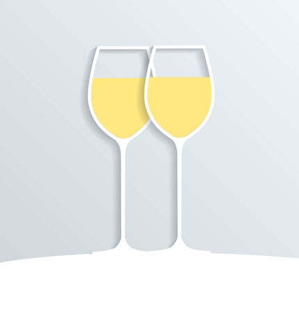 Two paper glasses filled with white wine, vector eps 10 illustration