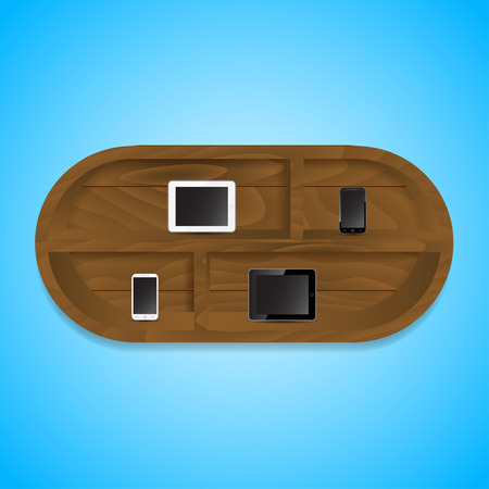 wooden bookshelf with mobile phones and pads Vector