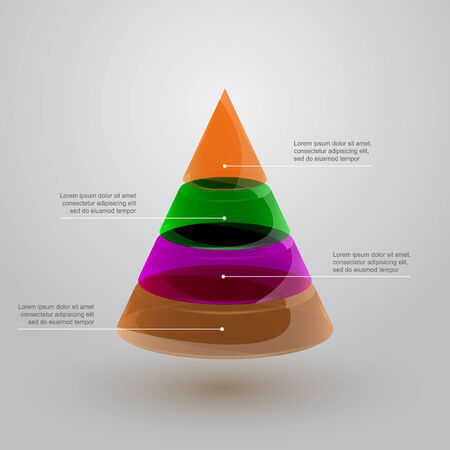 glass pyramid infographic template, vector eps 10 illustration Vector