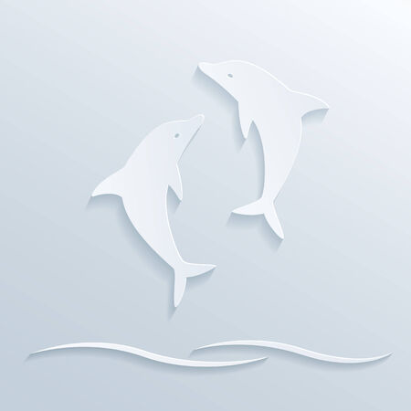 picture of two dolphin Vector