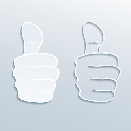two paper thumbs up signs, vector eps 10 illustration
