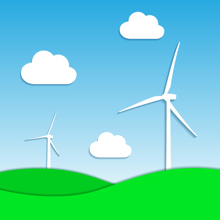 windpower: windmills silhouettes with grass and clouds, vector eps 10 illustration Illustration