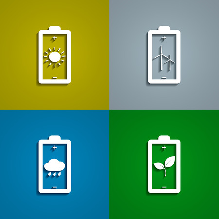 alternative energy sources: set of icons of batteries charged with energy from alternative sources, vector eps 10 illustration