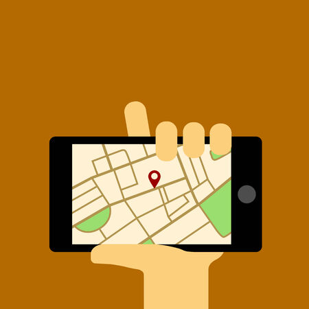 human hand holding mobile phone with map, vector eps 10 illustration Vector