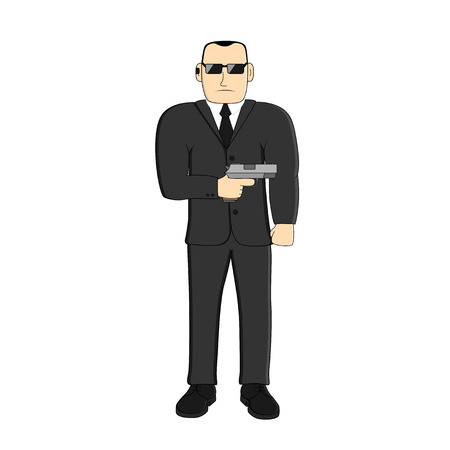 picture of man with a gun Illustration