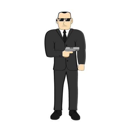 portable radio: imagen del hombre con una pistola