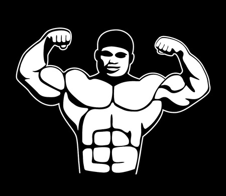 picture of a bodybuilder showing his muscules Ilustração