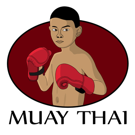 picture of young muay thai fighter Vector