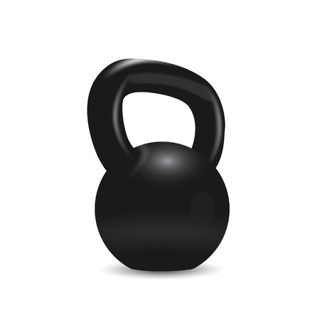 picture of black kettlebell on white background Vector