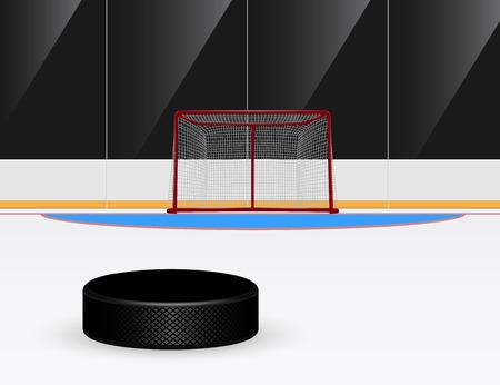 hockey rink: imagen de disco de hockey sobre hielo de cara al gol Vectores