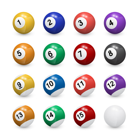 set of pool balls on white background